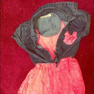 Lil Girls XS(4/5)hot pink dress bottom/blue top